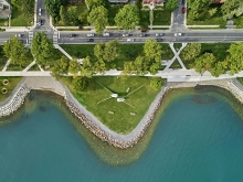 Breakwater Park - restored as a calm counterpart to the beach + pier, with new path connections to the neighbourhood