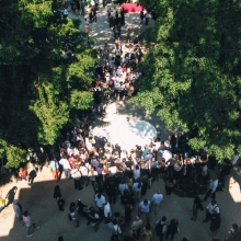 Aerial view of the opening ceremony of the exhibition located in the Giardini of the Venice Biennale Architecture