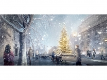 In winter, as in most major northern cities, a huge Christmas tree will adorn th